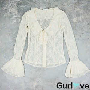 Cache 4 Bell Sleeve Laced Button Top